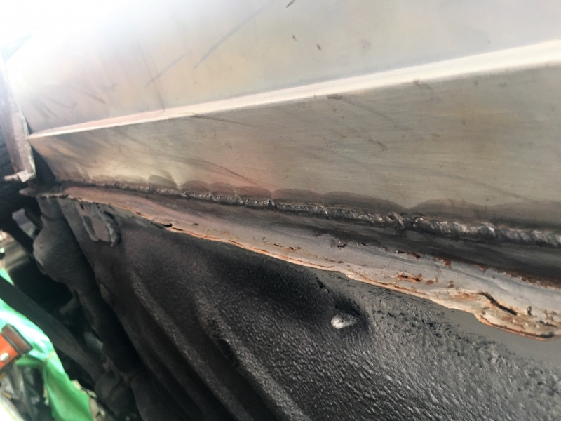 Welding the sill in place